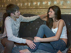 Teen brunette's fucked by a guy's thick cock