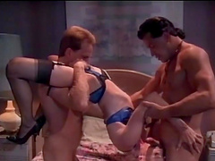 Slutty babe's fucked by two guys in a vintage threesome +