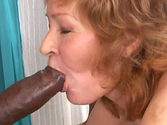 Horny granny is gangbanged by big black cocks