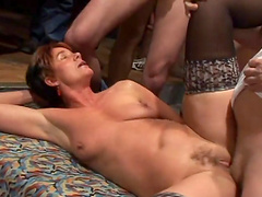 Gangbang sex for a horny granny leaves her covered by cum