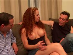 Threesome sex for the horny redhead milf Kitty Caulfield