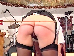 Sexy blonde is spanked until her ass is completely red