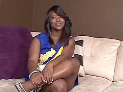Horny ebony babe masturbates with a dildo in solo scene