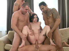 Insatiable whore gets nailed by a bunch of guys