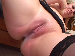 Rough sex with the horny blonde Scarlett Summers wearing stockings