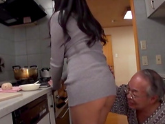 Busty Asian babe's eaten out and fucked by a horny old man