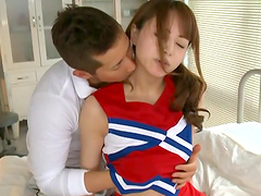 A gorgeous Japanese hottie sucks dick & gets nailed