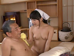 Kana Yume blows an old man while fingering herself