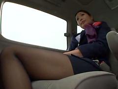 Miwako Yamamot masturbates inside a car