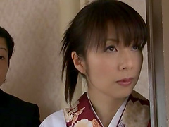 Japanese housewife cuffed and made to suck cocks
