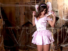 Abbie Cat takes off her fairy outfit and masturbates in a barn