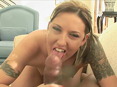 Tattooed Cowgirl Swallows Cum After Giving A Steamy Blowjob