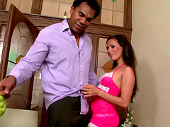 Mia Melone is eaten out before sucking on a big black cock