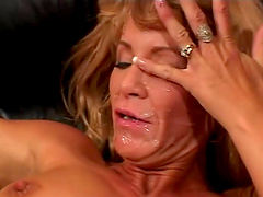 Cum whore with pierced pussy gets her ass fucked by old dude