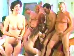 Retro orgy with bunch of nasty fuckers