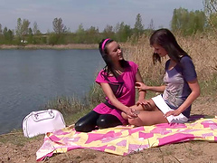 Hot lesbian bitches sexing each other up outdoors