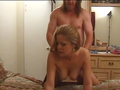 Bitch with pierced nipples sucks dick & gets nailed
