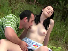 Outdoor pussy licking in the nature leads to rough fucking