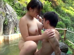 Rough sex in hot springs with a busty milf