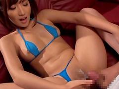 Icy hot Asian brunette giving handjob then blowjob