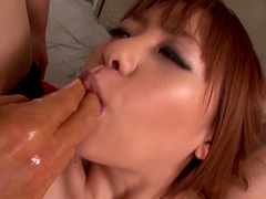 Asian chick spreads her legs to be fucked by a lot of dudes