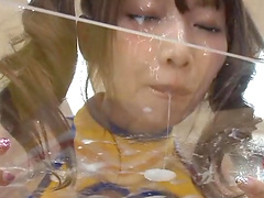 Mikoto Tsukawa is covered by semen after sucking two guys