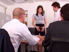 Asian hottie is gangbanged by 9her coworkers in the office