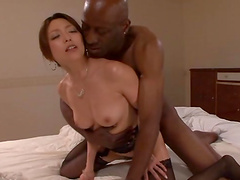 Asian sluts rides a big black cock in interracial clip