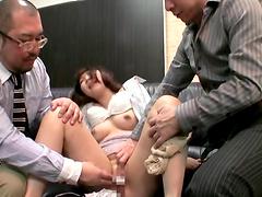 Asami Ogawa is masturbated before sucking on two hard cocks