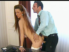 Skinny chick in high heels and stockings gets fucked in the office