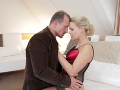 Barra Brass is fucked by a guy as she wears stockings