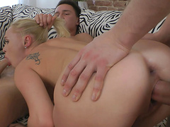 Balls deep ass fucking and double penetration with blonde Marysole