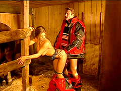 Winsome cowgirl with long hair enjoying her sex hole being licked