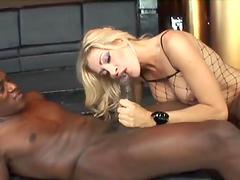 Hot blonde pornstar Vittoria Risi in fishnet stockings gets ass fucked