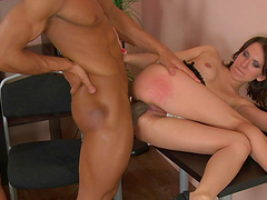 Dude with a massive black dick fucks tight pussy and ass of a hottie