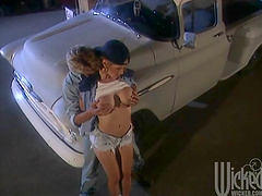 Gentle fucking by the car with big tits blonde girlfriend Alexa Ra