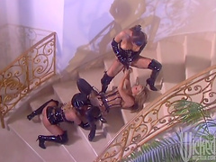 Lesbian threesome among three horny babes