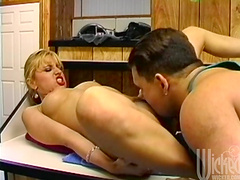 Ass fucking in the kitchen ends with a facial for Tracy Love