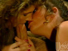 Sexy ladies have a threesome with a thick cock in vintage clip