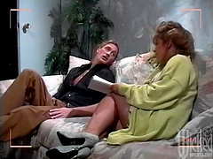 Blonde cougar with large tits gets fucked and receives cum in mouth