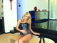 Solo model Samantha Ryan in leather corset enjoys teasing