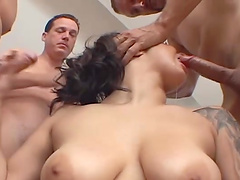 Gangbang on the floor ends with cum in mouth for Paige Taylor