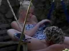 Attractive blonde girlfriend Sharon Wild gets fucked in outdoors