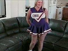 Cheerleader blonde rides a hard fuckin' dick