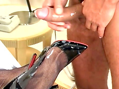 Redhead shemale with a giant dick gets fucked by a naughty stud