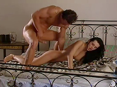 Nice lovemaking on the bed with anal loving hottie Gabby Black