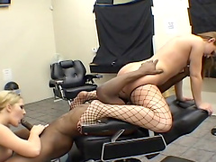 Black dude with a large cock fucks Alisa Zee and her friend