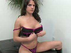 Brunette slut sticks a hard toy in her fuckin' gash
