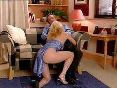 Wild quickie fucking with hot ass blondie Alicia Rhodes + cum on tits