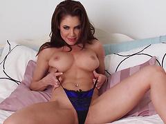 Beautiful brunette Erika Jordan licks her pussy after fingering